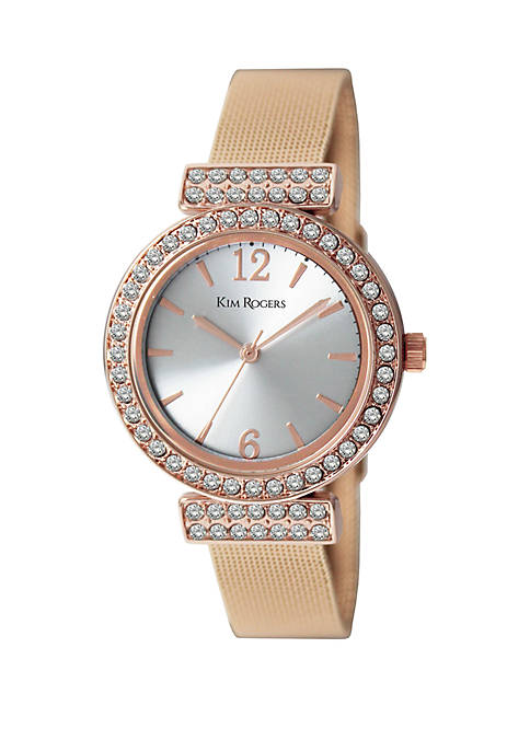 Glitz T Bar Mesh Strap Watch