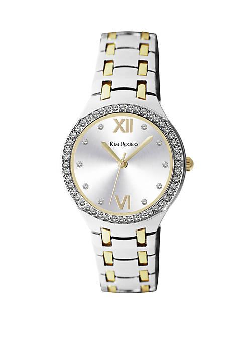 2 Tone Gold Crystal Bezel Domed Glass Bracelet Watch
