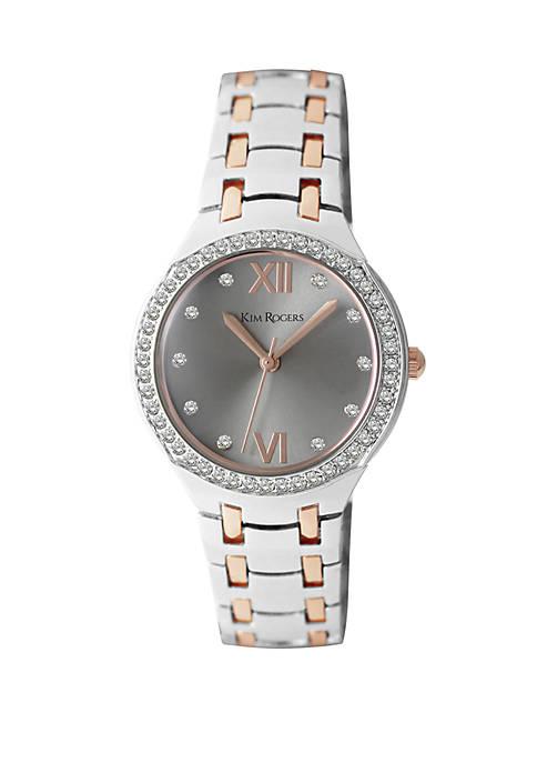 2 Tone Rose Crystal Bezel Domed Glass Bracelet Watch