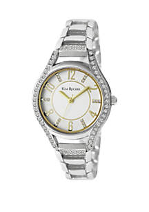 Silver-Tone Crystal Accent Watch