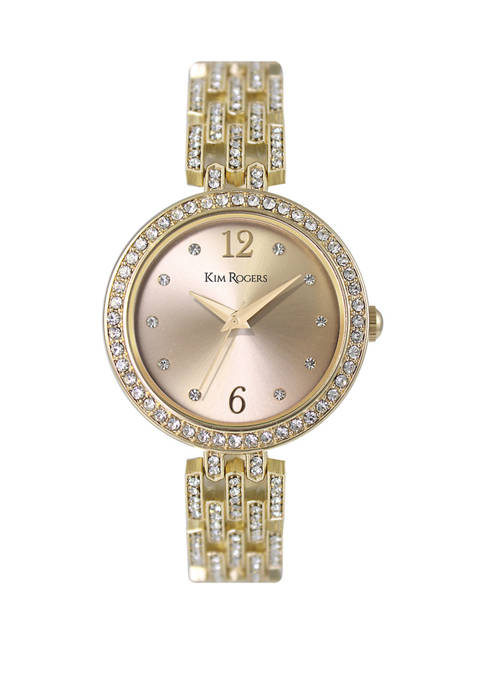 Gold Tone Link Bracelet Crystal Watch
