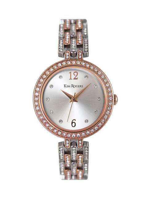 2 Tone Link Bracelet Crystal Watch