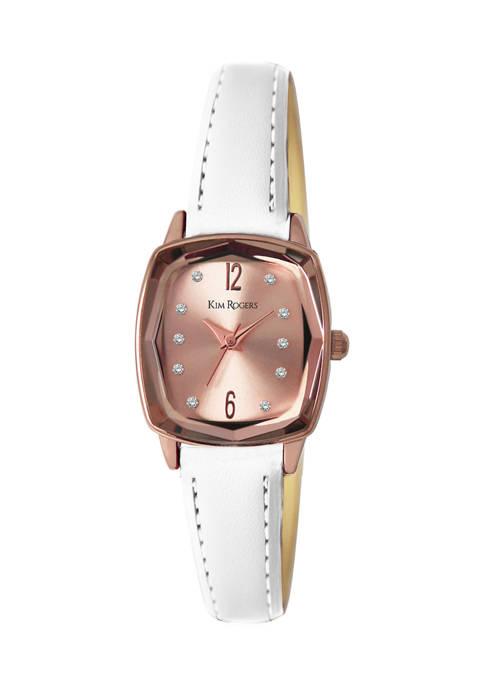 Rose Tone Cushion Shape Faceted Bezel Strap Watch