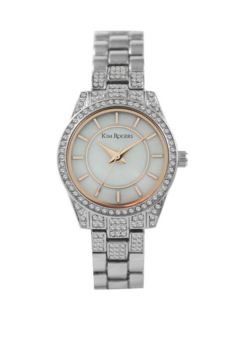 Kim Rogers® Womens Silver Tone Crystal Mini Bracelet
