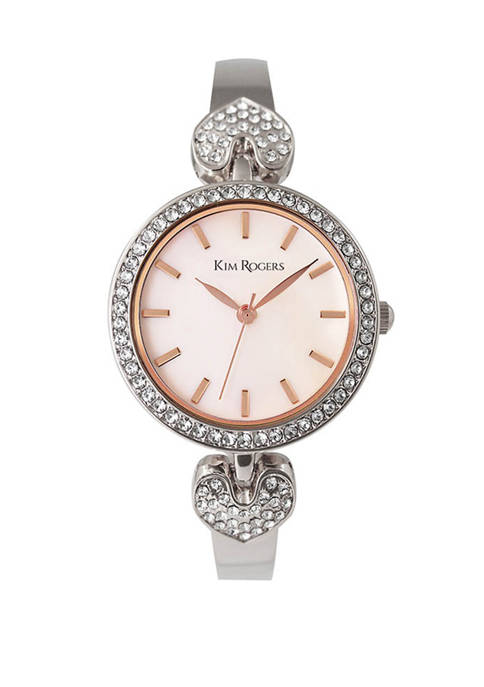 Silver Heart Crystal Bangle Watch