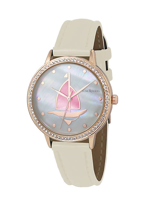 Kim Rogers® Womens Gold-Tone Sailboat Glitz Leather Strap