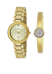 Gold-Tone Diamond Accent Watch And Diamond Bracelet Set