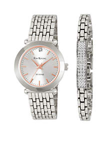 Diamond Silver Watch/Bar Bracelet Set
