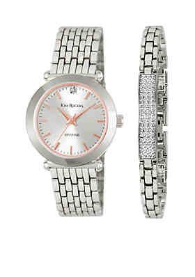 295f745c803 Kim Rogers® Diamond Silver Watch/Bar Bracelet Set ...
