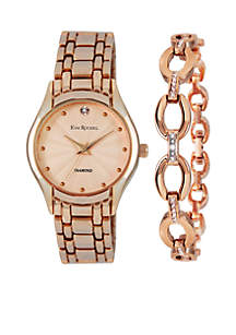 Women's Rose Gold-Tone Genuine Diamond Watch & Genuine Diamond Bracelet Set
