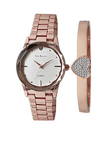 Women's Rose Gold-Tone Heart Bangle Watch Set