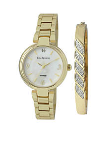 Women's Gold-Tone Mother-Of-Pearl Dial Swirl Bangle Watch Set
