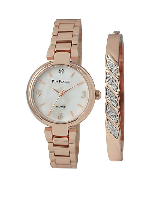 Kim Rogers® Diamond Rose-Gold Watch and Bangle Set