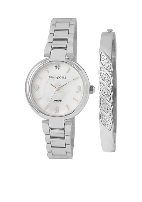Kim Rogers® Womens Silver-Tone Mother-Of-Pearl Dial Bangle Watch