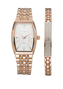 Square Rose Gold-Tone Watch and Bracelet Set