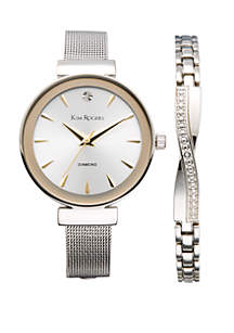 Silver-Tone Mesh Watch and Bracelet Set