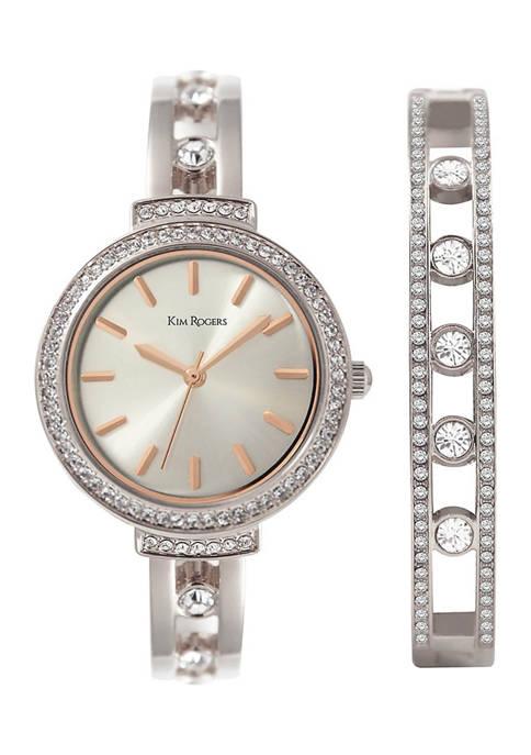 Silver Tone Rose Accent Crystal Watch & Bracelet Set