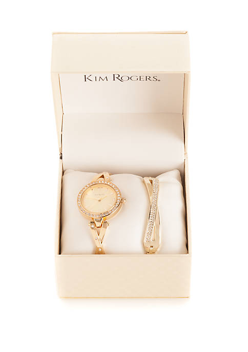 Gold-Tone Watch and Bracelet Crystal Set
