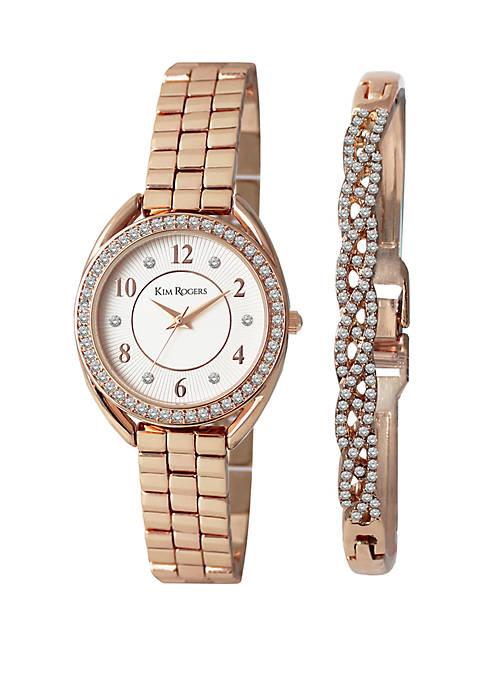 Rose Gold-Tone Watch and Crystal Bracelet Set