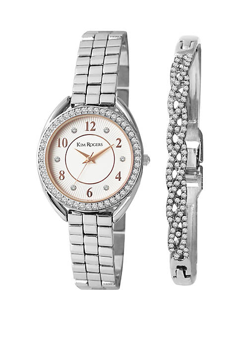 Silver Tone Watch and Crystal Bracelet Set