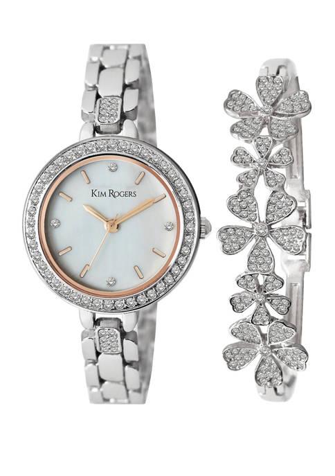 Womens Crystal Watch and Flower Bracelet Set