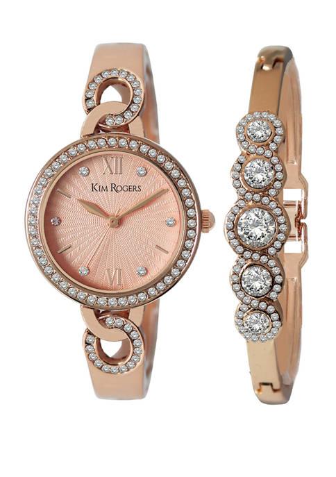 Crystal Watch and Bracelet Set