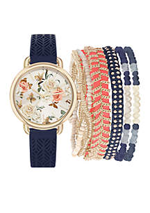 Gold-Tone Navy Floral Dial Watch and Multi Bracelet Set