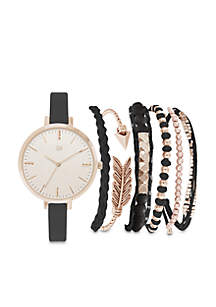 Women's Rose Gold-Tone Black Skinny Strap Watch Set