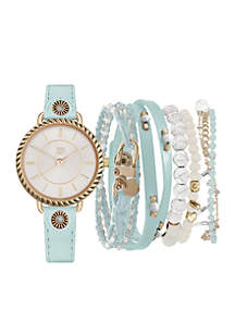 Silver-Tone Cloudy Blue Medallion Strap Watch Set