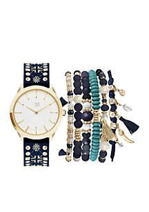 Gold-Tone Studded Strap Watch and Bracelet Set