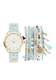 Women's Silver-Tone Light Blue Studded Watch Set