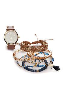 Women's Gold-Tone Cognac Strap Watch and Bracelet Set