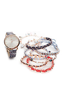 Rose Gold-Tone Paisley Strap Watch and Bracelet Set