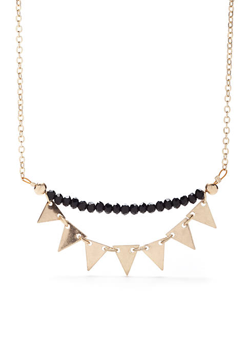 Gold-Tone Glass Beaded Triangle Necklace