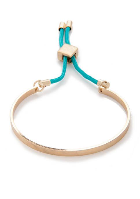 Gold-Tone Charm Bolo Bracelet