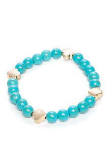 Turquoise Stretch Clover Bracelet