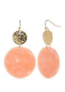 Gold-Tone Resin Drop Hammered Disc Earrings