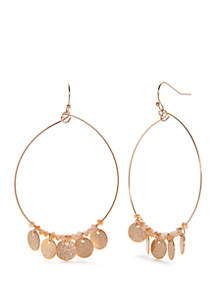 Glass Discs Hoop Earrings