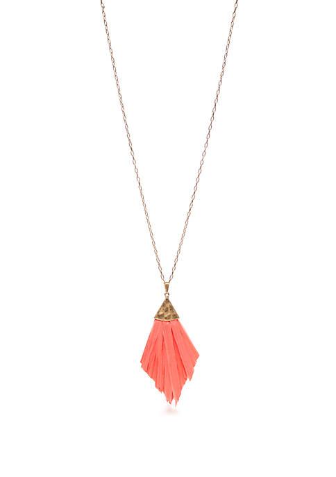 Kaari Blue™ Raffia Tassel Pendant Necklace