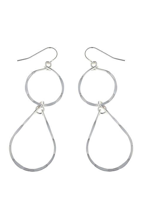 Kaari Blue™ Hammered Silver-Tone Double Drop Earrings