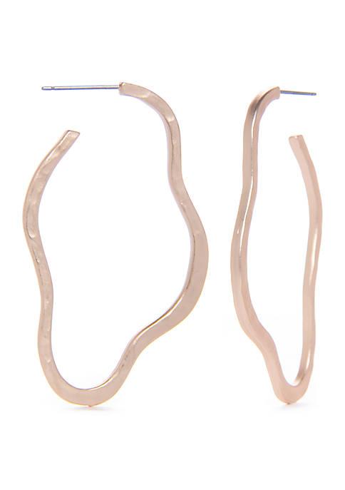 Kaari Blue™ Hammered Wavy Stud Hoop Earrings