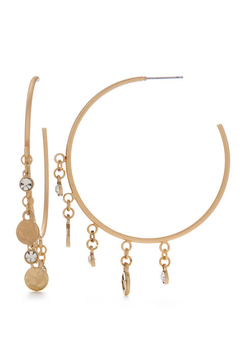 Disc and Crystal Fringe Hoop Earrings