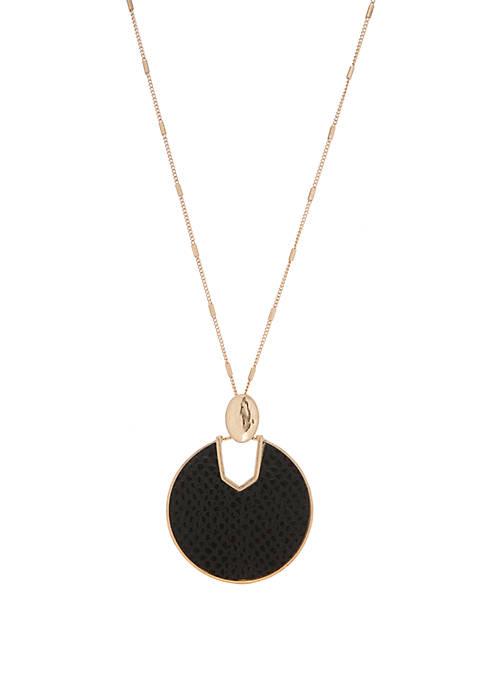 Kaari Blue™ Black Python Leather Keyhole Disc Pendant