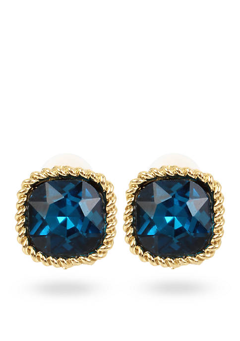 Small Faceted Square Clip Earrings