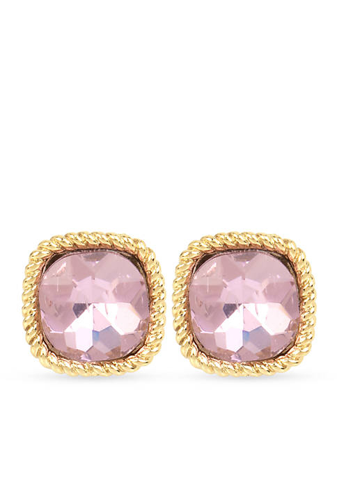 Gold-Tone Faceted Square Clip Earrings