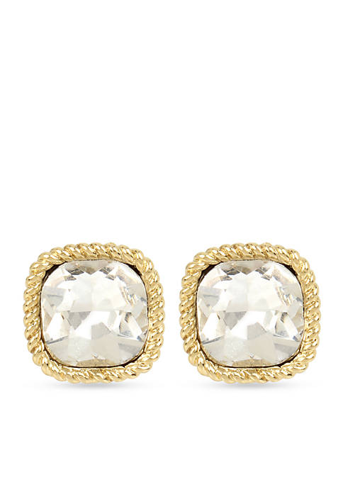 Crown & Ivy™ Gold-Tone Crystal Square Clip Stud