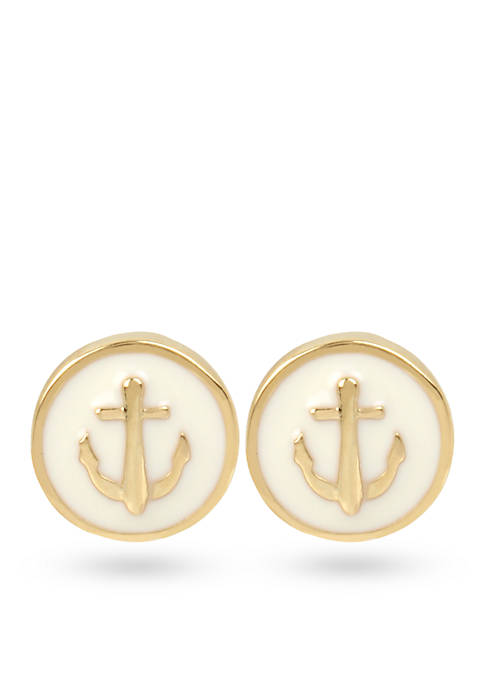 Crown & Ivy™ Gold-Tone Anchor Stud Earrings