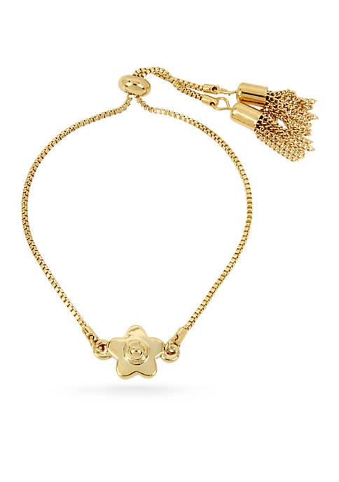 Gold-Tone Flower Adjustable Slider Bracelet