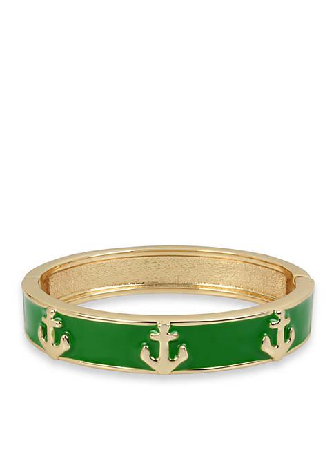Crown & Ivy™ Gold-Tone Anchor Bangle Bracelet
