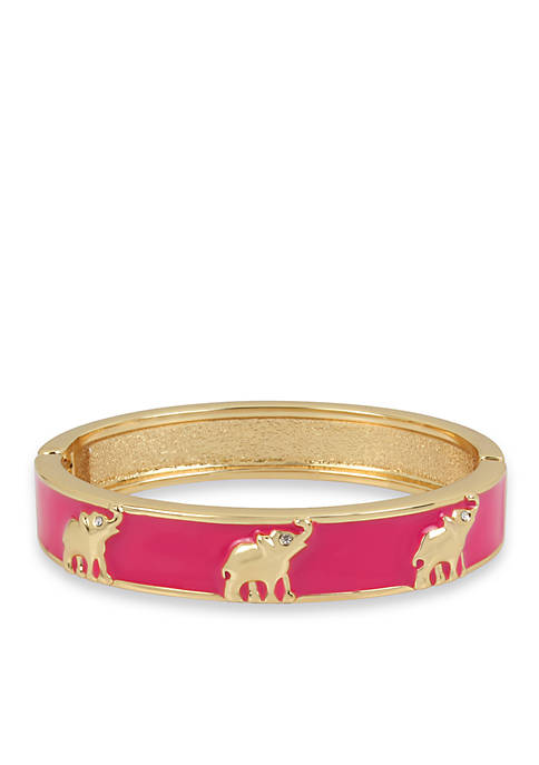 Gold-Tone Elephant Bangle Bracelet